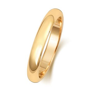18ct Gold  3MM D-Shape Wedding Band
