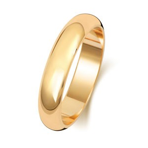 18ct Gold 4MM D-Shape Wedding Band