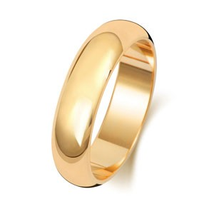 18ct Gold 5MM D-Shape Wedding Band